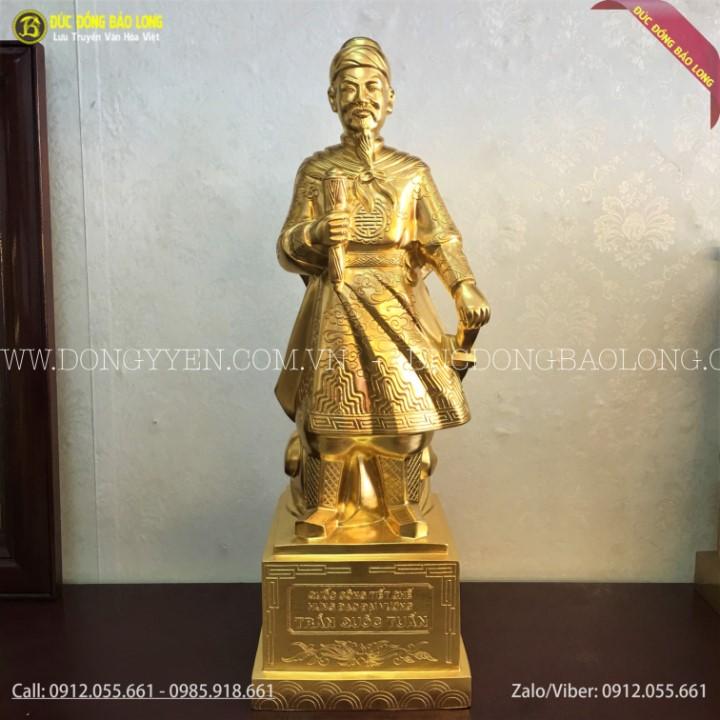 tượng trần hưng đọa cao 75cm dát vàng 9999