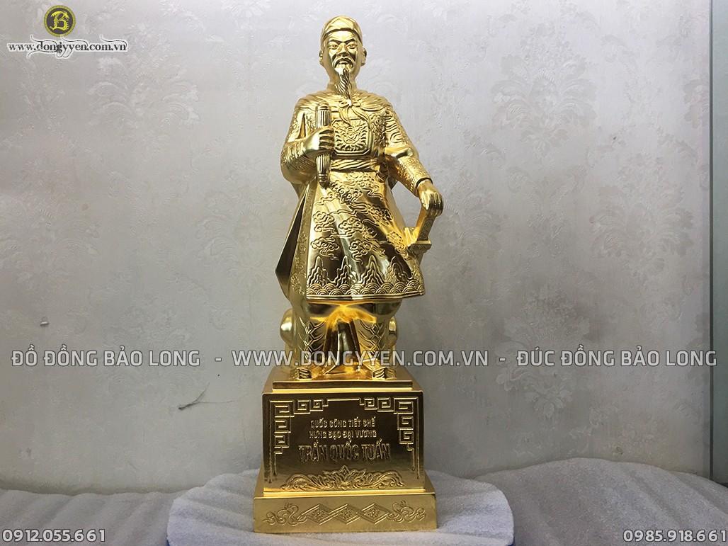 tượng trần quốc tuấn 42cm dát vàng 9999