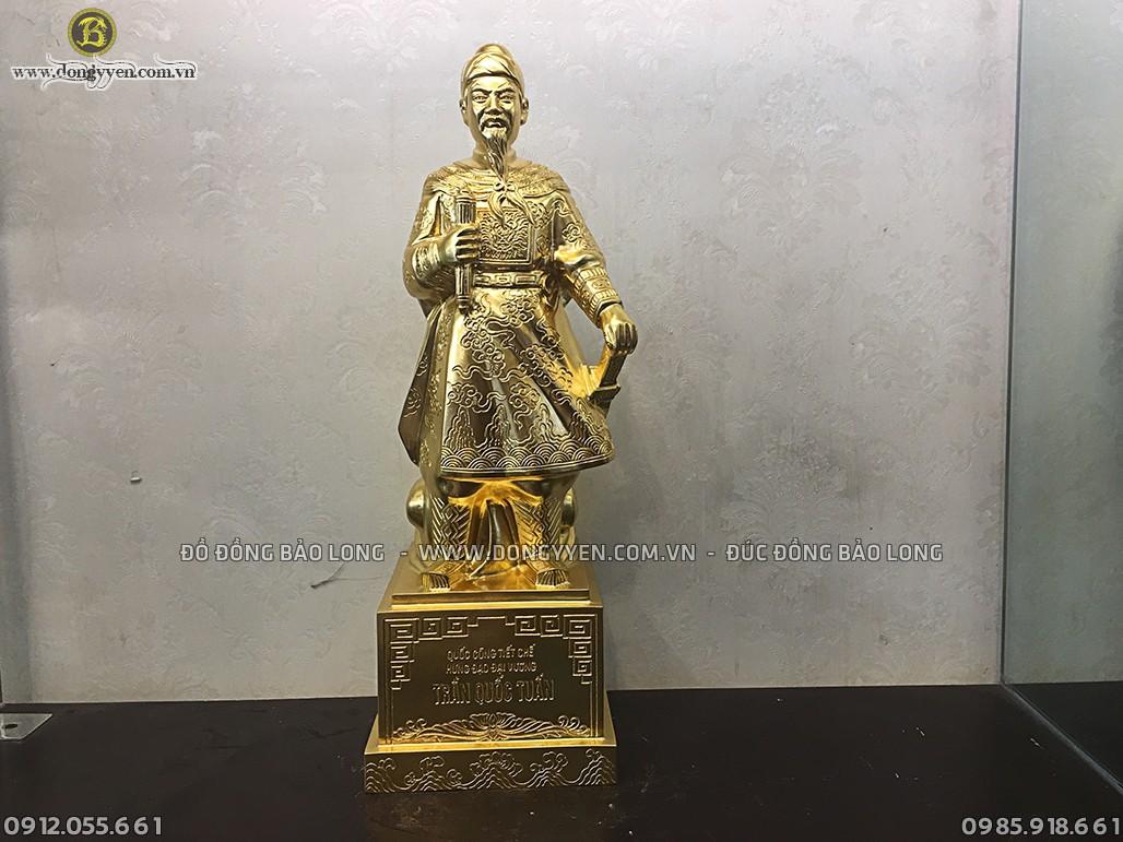 tượng trần quốc tuấn dát vàng cao 48cm