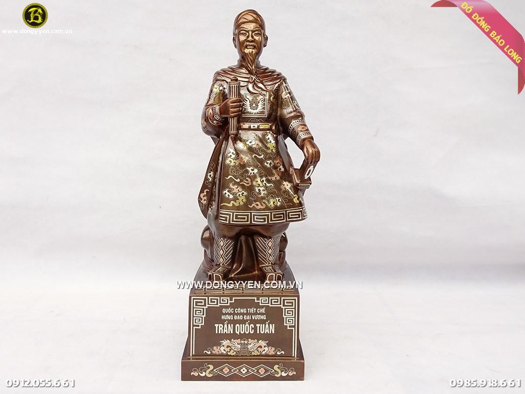 tượng trần quốc tuấn 69cm khảm tam khí