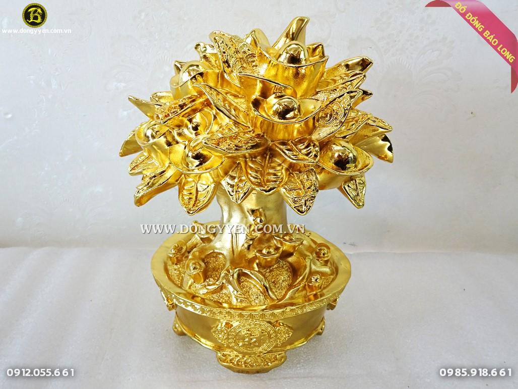 cây tiền tài lộc bằng đồng mạ vàng 23cm