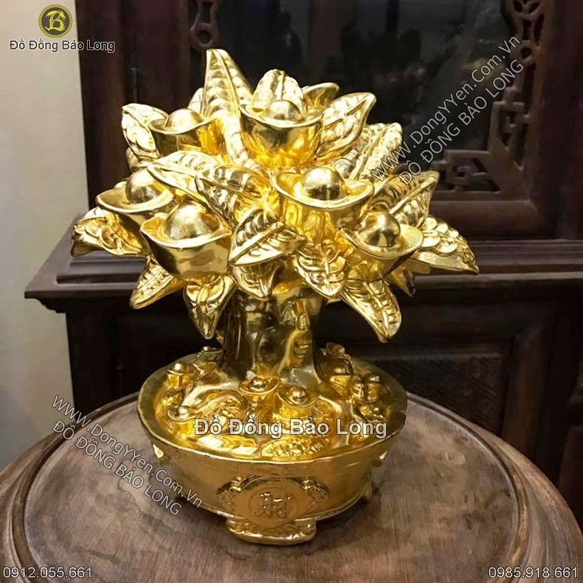 Cây Tiền Bằng Đồng Thếp Vàng 36cm