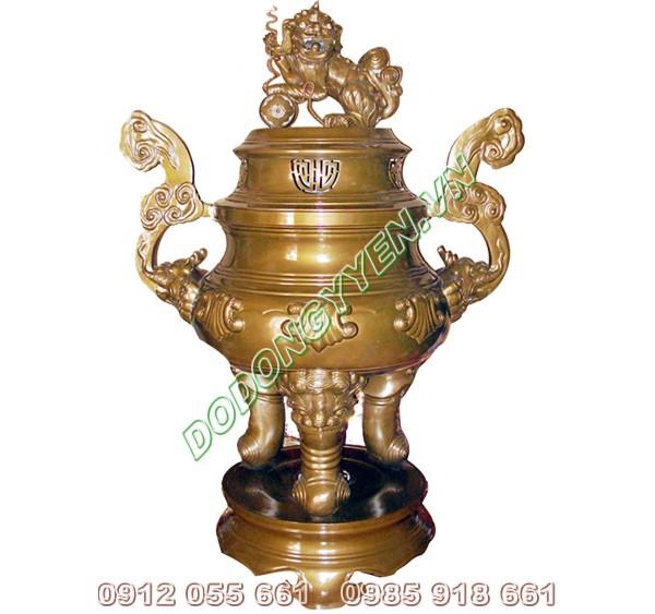 Đỉnh đồng vàng - Đỉnh thờ đồng thau xuống màu