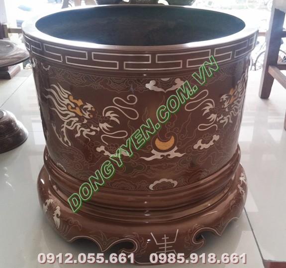 Bát hương đồng 40cm khảm ngũ sắc
