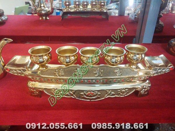 Bộ Ngai 5 Chén bằng đồng vàng