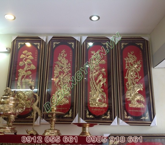 Tranh Đồng Tứ Quý  Khổ 1m x 40cm