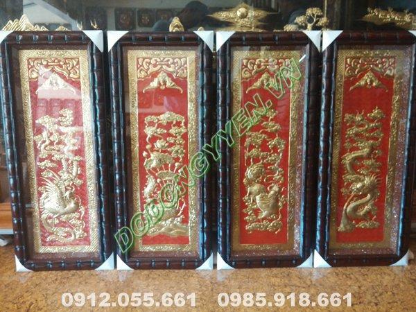 Tranh tứ linh bằng đồng 1m nền đỏ khung gỗ đốt trúc