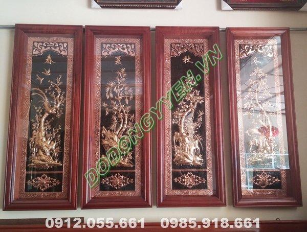 Tranh tứ quý Tùng-Cúc-Trúc-Mai bằng đồng - khung gỗ đục 1m x 40cm