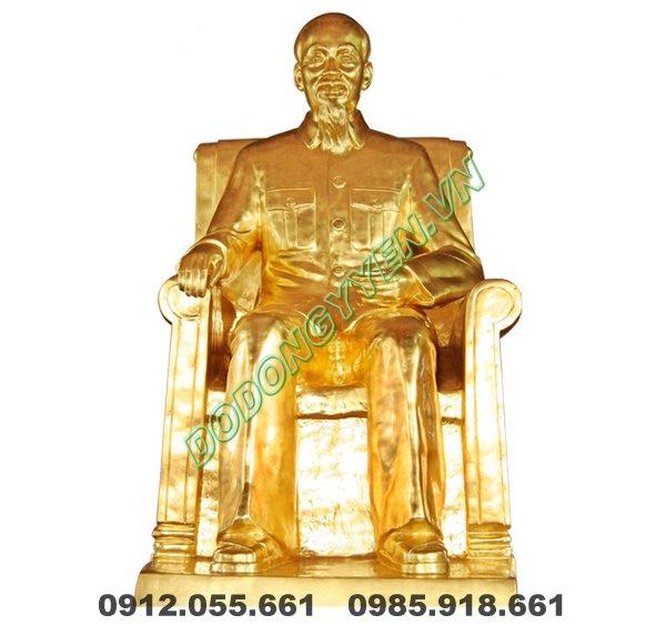 Tượng Bác Hồ Ngồi Bằng Đồng Mạ Vàng 9999