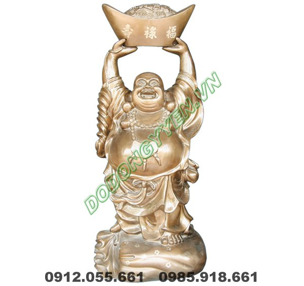 Tượng Phật Di Lặc đội tiền vàng bằng đồng